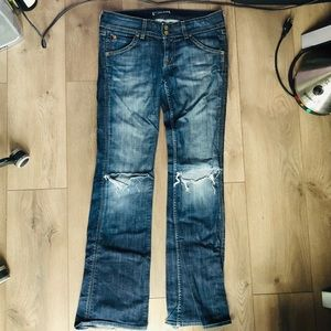 Hudson Jeans Boot cut 29 knee holes flap pockets